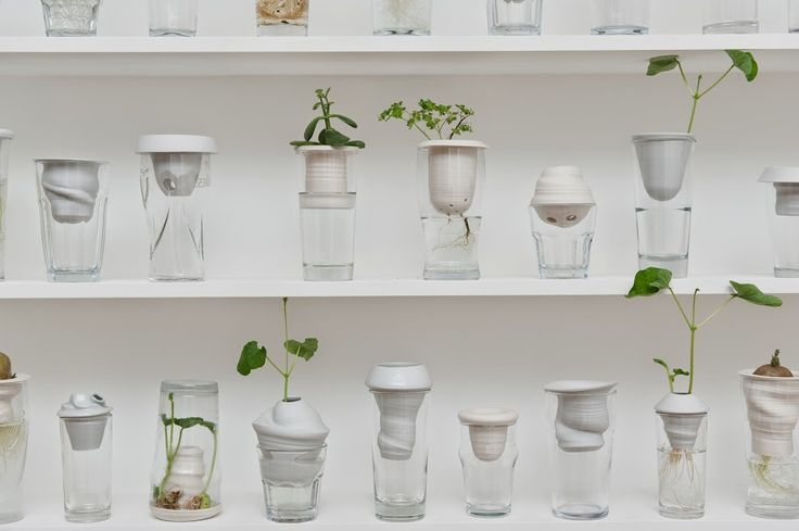 The #PLANTATION by Alicja Patanowska was established because of the need to find a remarkable, almost symbolic use of what has been abandoned. The result is a porcelain object that rests in a common glass and which allows the observation of the growing process of plants, both its stem as well its root.