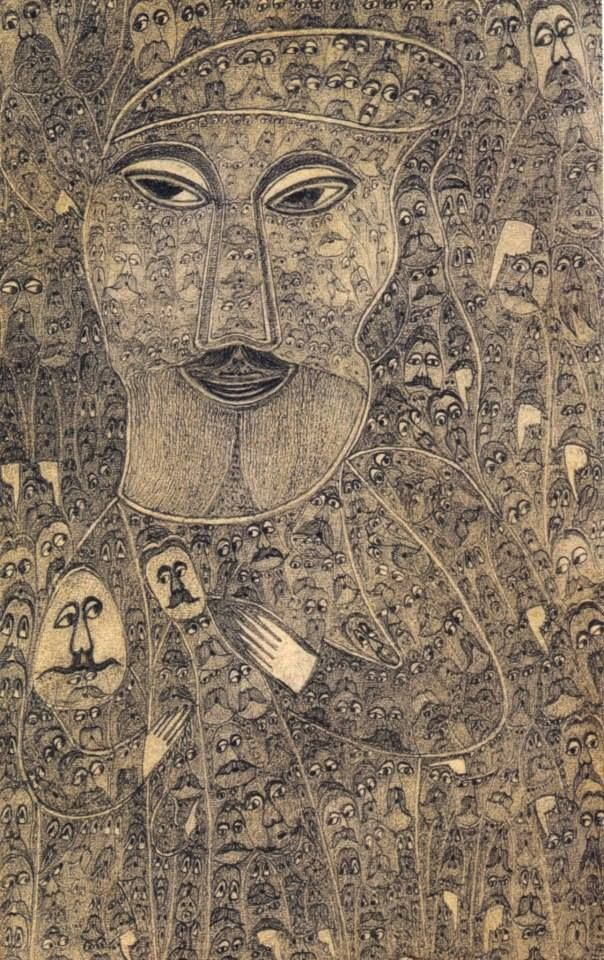 Detailed small drawing by Polish self-taught artist Edmund Monsiel, from the Outsider Art Sourcebook and Raw Vision #10. http://rawvision.com/artists/edmund-monsiel