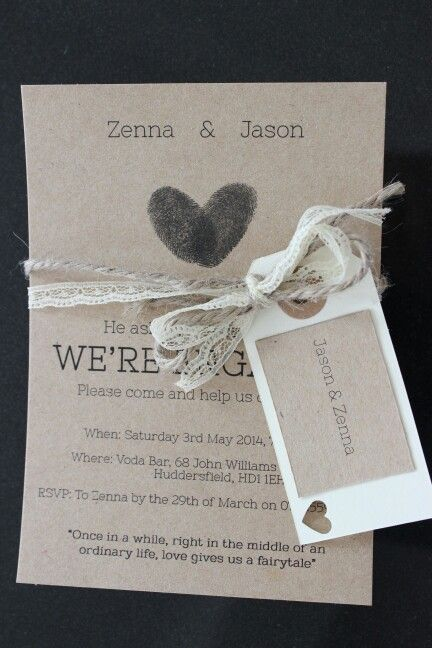 My DIY rustic Engagement Party Invitations with twine, lace and heart fingerprints and ivory envelopes
