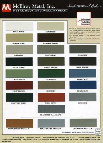 metal roof color chart ... see more info about standing seam metal roof systems here http://www.archmetalroof.com/standing-seam-roofing.html