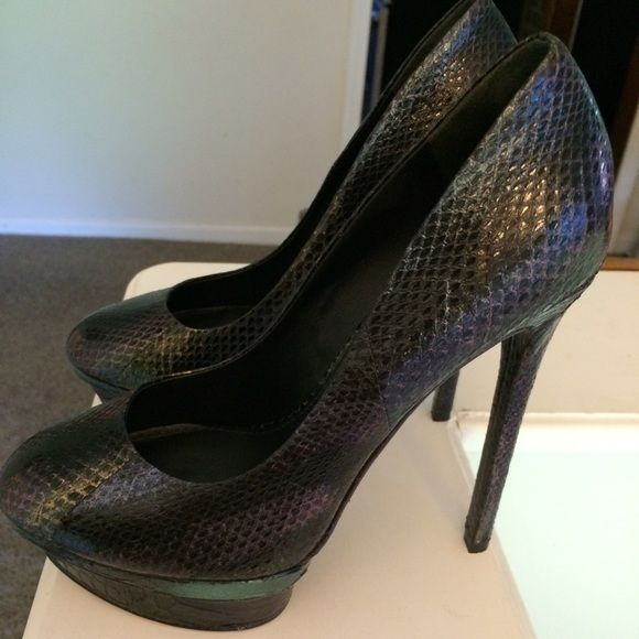 REDUCEDBrian Atwood Snakeskin Heels These are GORGEOUS!  In perfect condition. Worn once for like 2 hours.  Purple snakeskin with platform.☺️️CANT BE BUNLED☺️ Brian Atwood Shoes Heels