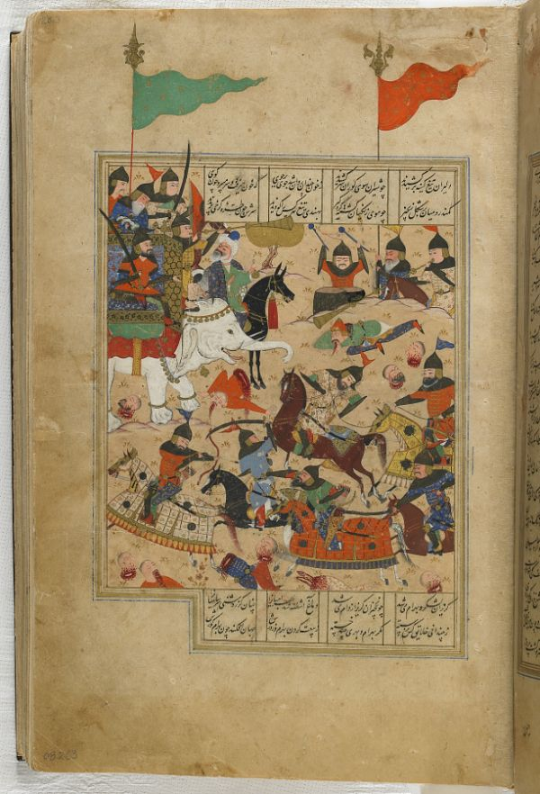 Folio from a Khamsa (Quintet) by Nizami (d.1209); recto: illustration: A battle between the forces of Khusraw and Bahram Chubina; verso: text  TYPE Manuscript folio MAKER(S) Calligrapher: Murshid al-Shirazi HISTORICAL PERIOD(S) Safavid period, 1548 (955 A.H.) MEDIUM Ink, opaque watercolor and gold on paper DIMENSION(S) H x W (overall): 17 x 14 cm (6 11/16 x 5 1/2 in) GEOGRAPHY Iran, Fars, Shiraz