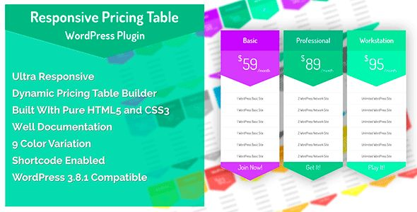 CCR Responsive WordPress Pricing Table Plugin   http://codecanyon.net/item/ccr-responsive-wordpress-pricing-table-plugin/7430992?ref=damiamio             CCR Responsive WordPress Pricing Table Plugin for WordPress users while looking for a flat design best WordPress pricing table plugin. This is a Multi-functional WordPress Pricing Table Plugin with a pack of CSS3 and HTML5. This Plugin can be used for any blog or website to make an attractive pricing display for any business or service…