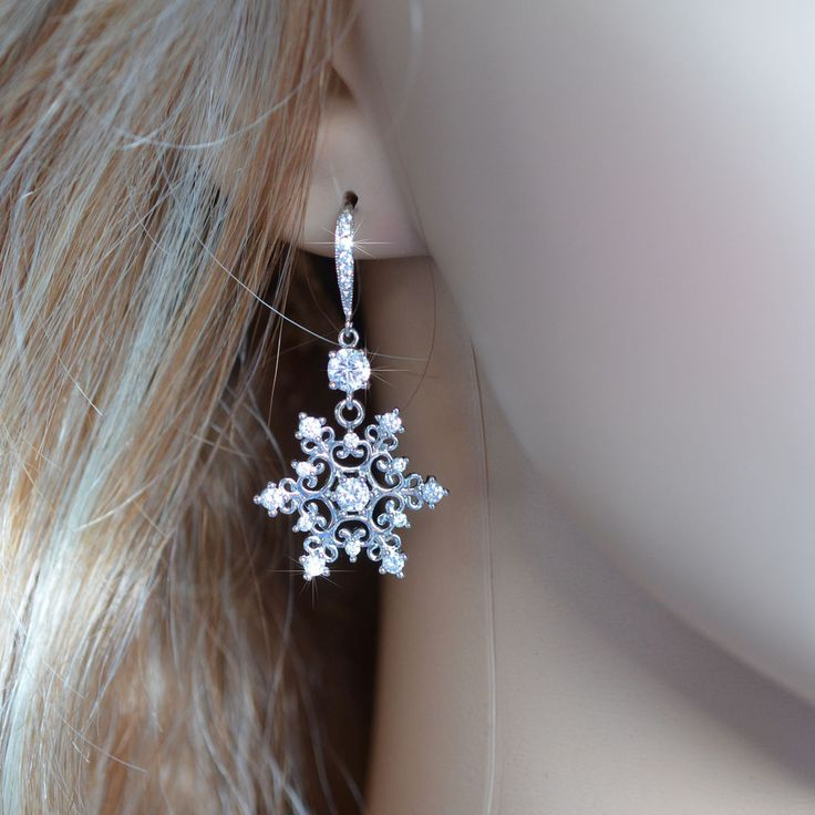Handmade Cubic Zirconia CZ Snowflake Dangle Earrings (Sparkle-2677) #Handmade