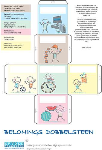 Gratis Beloningssysteem dobbelsteen voor kinderen. Hiermee bepaalt u verschillende beloningen, Laat het kind dobbelen en zie wat voor beloning hij of zij krijgt. | Klik op de afbeelding om naar de download te gaan. http://www.opvoedproducten.nl/product/beloningssysteem-dobbelsteen/240