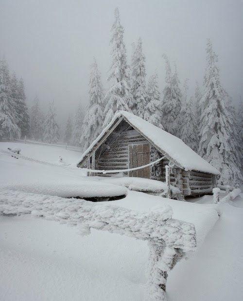 Log Cabin in snow. Beautiful