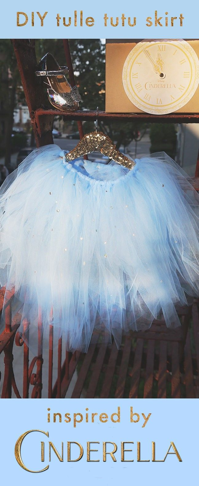 This DIY tulle skirt is a great way for your little princess to dress up like Cinderella.