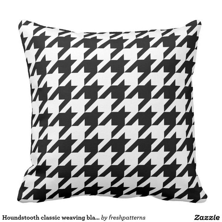 Houndstooth classic weaving black white pattern throw pillow