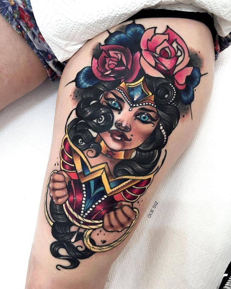 Wonder Woman by @olie_siiz in Warsaw Poland. #wonderwoman #superhero #wonder #woman #oliesiiz #warsaw #poland #tattoo #tattoos #tattoosnob