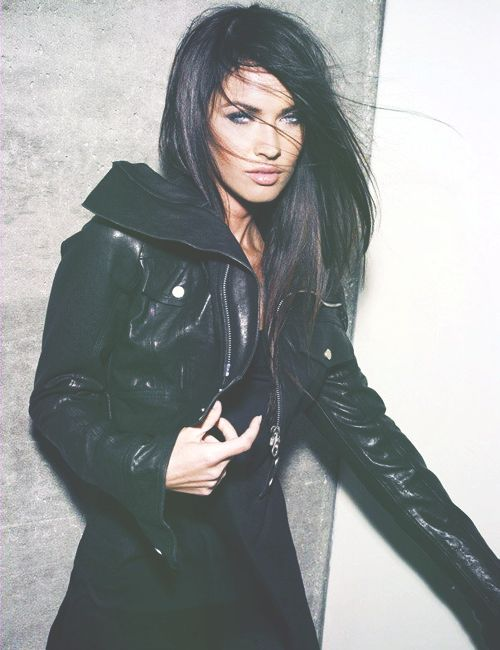 Gorgeous hair and makeup and fabulous leather jacket