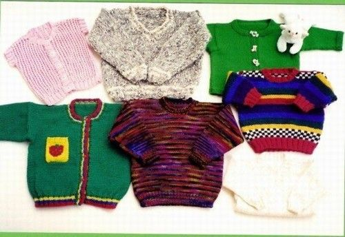Ann Norling 29 Kid's Basic Pullover, Cardigan, and Vest in V-neck and crew neck in Many Gauges of yarn. Sizes 1-12 years old.