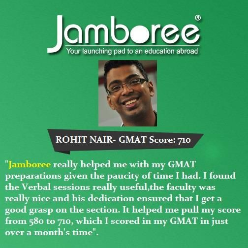 JAMBOREE INDIA REVIEWS Congratulate to Rohit Nair for scoring a 710 on GMAT.. #JamboreeIndiaReviews #JamboreeReviews #JamboreeDelhi