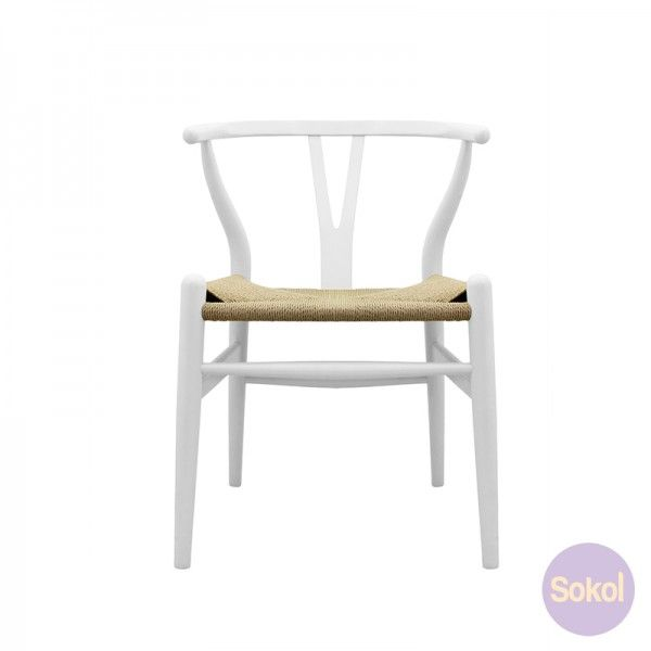 $200 Sokol Wegner Wishbone Chair - Replica CH24 Hans Wegner Wishbone Chair White | Sokol Designer Furniture