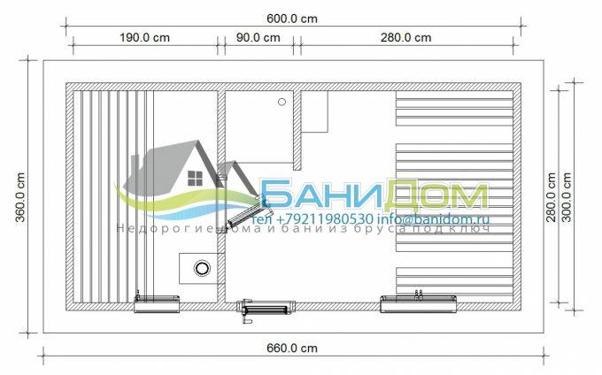 план готовой каркасной бани