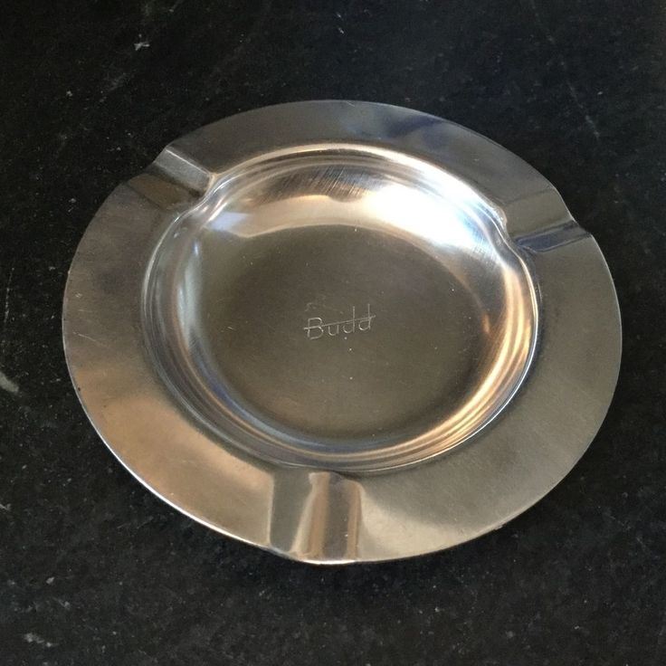 """Rare """" The Budd Co. """" Stainless Steel Ashtray Train Car Auto Parts Collector"""