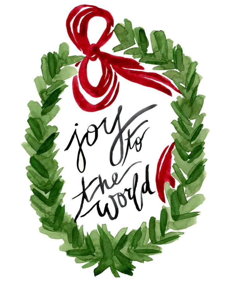 "FREE download - ""Joy to the World"" Wreath 8x10 Watercolor Art Print by Kati Ramer"
