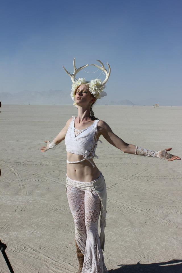 Bebe @ Burning Man. Antlers!! I should do antlers.