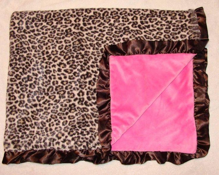 Leopard Cheetah Print Baby Girl Blanket Hot Pink Satin Ruffle Trim RN 119741 in Baby, Nursery Bedding, Blankets & Throws | eBay