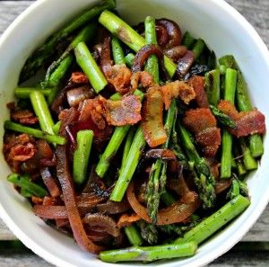 Olive Me Co Pan Roasted Asparagus with Red Onion and Bacon, made with ...