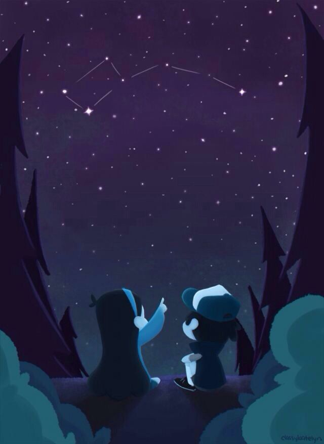 Awesome! GRAVITY FALLS! Dipper and Mabel looking at the little Dipper!