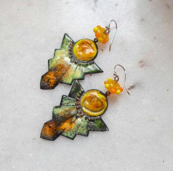 Enamel Earrings Enamel Brass Earrings Glass by CandanImrak on Etsy sold