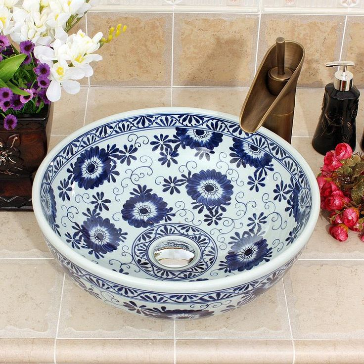 Blue And White Ceramic Painting chrysanthemum indicum China Painting wash basin Bathroom vessel sinks toilet bowls and basin(China (Mainland))