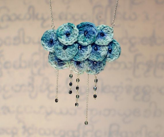 Crochet cloud necklace, blue - green hand dyed silk rings sewn on a gray felt, Embellished with Czech glass beads