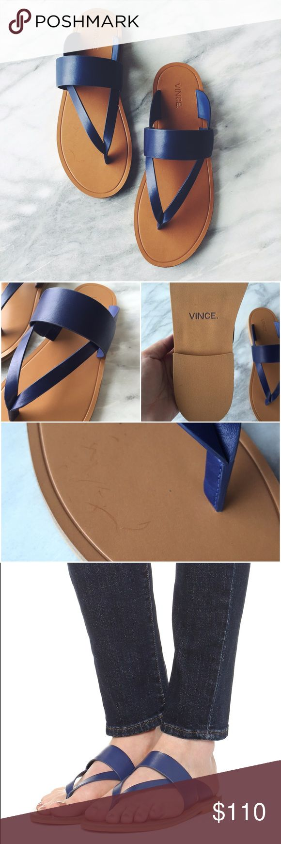 Vince Blue Leather Flat Strappy Sandals •Simple-chic structure defines Vince's leather thong sandals for a subtle update on an essential style.  •Size 7, true to size.  •Display shoe, like new condition. Original box not included.  •NO TRADES/HOLDS/PAYPAL/MERC/VINTED/NONSENSE. Vince Shoes Sandals
