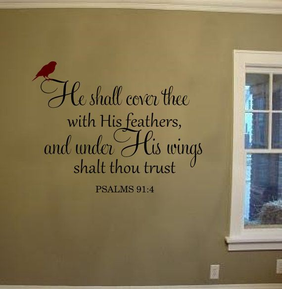 He Shall Cover Thee With His Feathers Wall Decal Vinyl