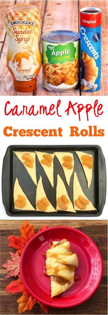 Easy Caramel Apple Crescent Roll Bites Recipe!  Just 3 ingredients and you've…