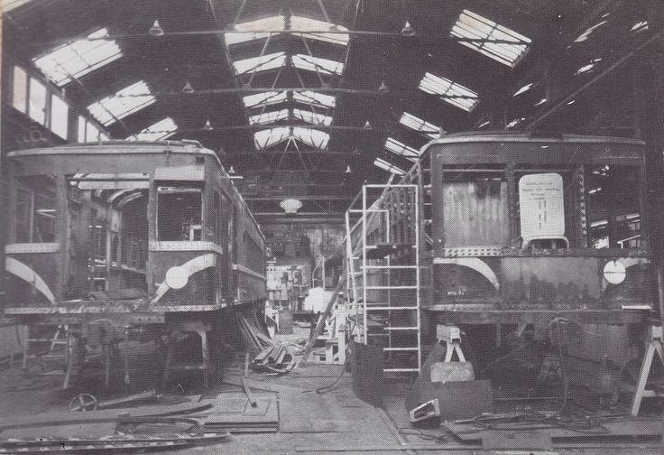 RM 61 (left) and RM 55 (right) at Newport Workshops in 1976 undergoing rebuilding.  Victorian Railways photograph