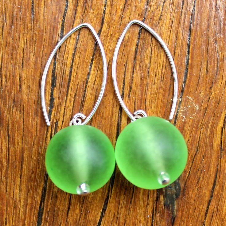 Green (Translucent) Ball Drop Earrings