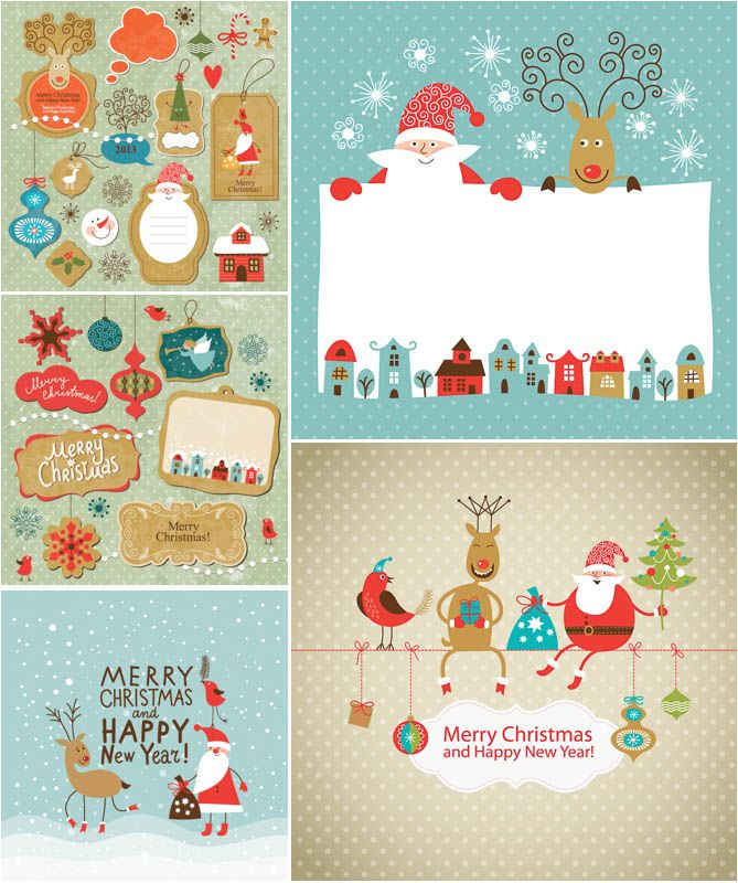 Funny Cartoon Christmas Cards With Santa Vector
