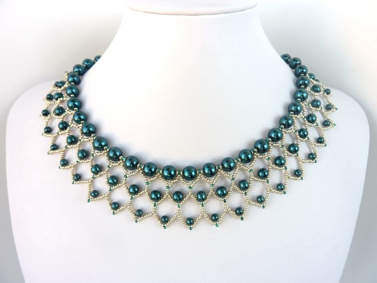 Free Beading Pattern For Pearl Petals Necklace Woven