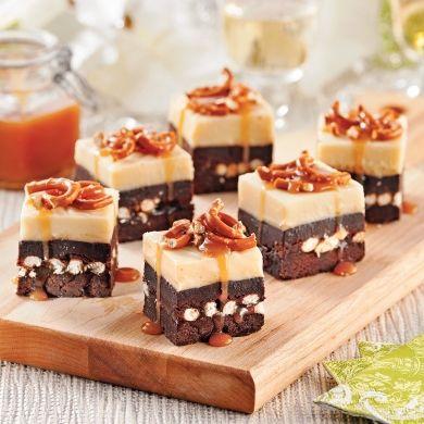 Carrés de chocolat, caramel et bretzels - Recettes - Cuisine et nutrition - Pratico Pratiques - Dessert