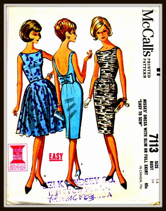 Vintage McCall's Dress Pattern 7113  Size 14M by ThePatternShopp