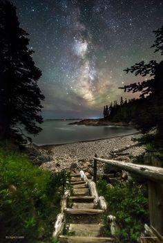 Night Walk at Little Hunters Beach, Acadia National Park, Maine
