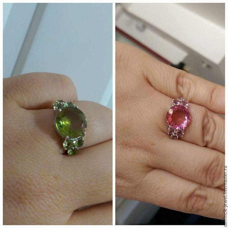 Купить работы Серебряный перстень с круглыми султанитами - разноцветный, султанит, перстень с султанитом, султанит в серебре