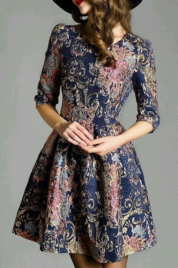 vintage pattern half sleeve flare dress