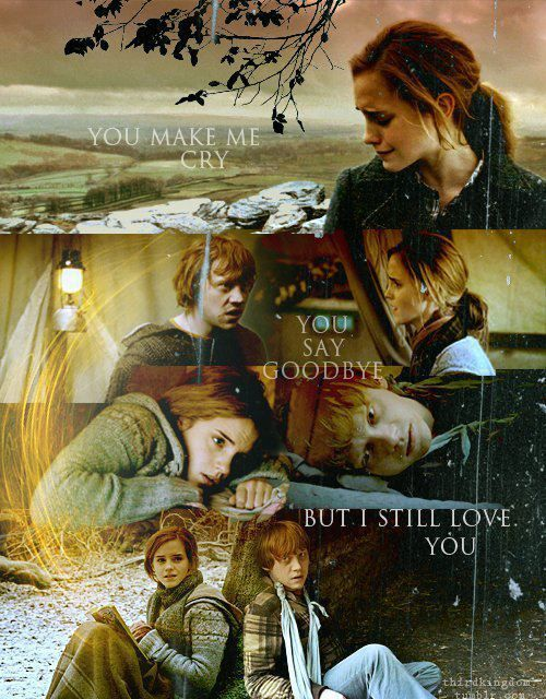 This is just too adorable. No matter what all the Harry -Hermione people say I believe that she and Ron really were better off together because even though Ron made some pretty stupid decisions he came back to her because he realized that he needed her.
