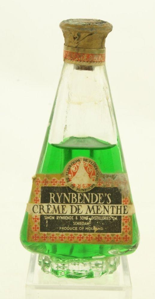 Rijnbende flesje met etiket. Ontwerp A.D. Copier, 1936. Uitvoering Leerdam glasfabriek.