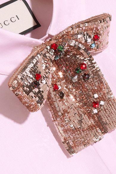 Gucci - Embellished Cotton-poplin Shirt - Pink - IT48