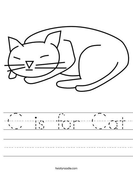 c is for cat worksheet twisty noodle letter c c is for cat worksheets books. Black Bedroom Furniture Sets. Home Design Ideas