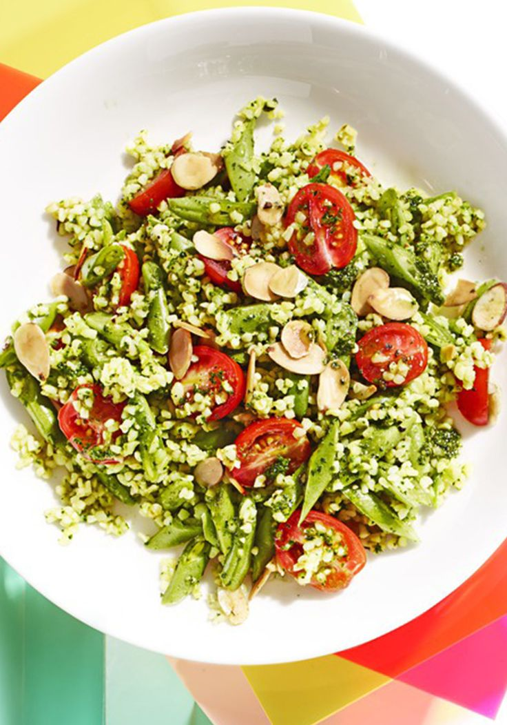 Kale Pesto Bulgur Salad Recipe.  This kale pesto bulgur salad from Naturally Ella blogger Erin Alderson doesn't require any cooking. Just soak the grains overnight, mix and it's ready to eat!