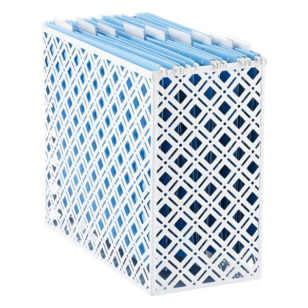 White Desktop File Organizer  Cut into 2 - 3 section bottom to top for lattice closet sections