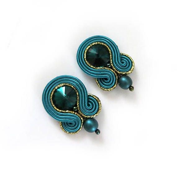 Small teal clip on dark green studs earrings forest green