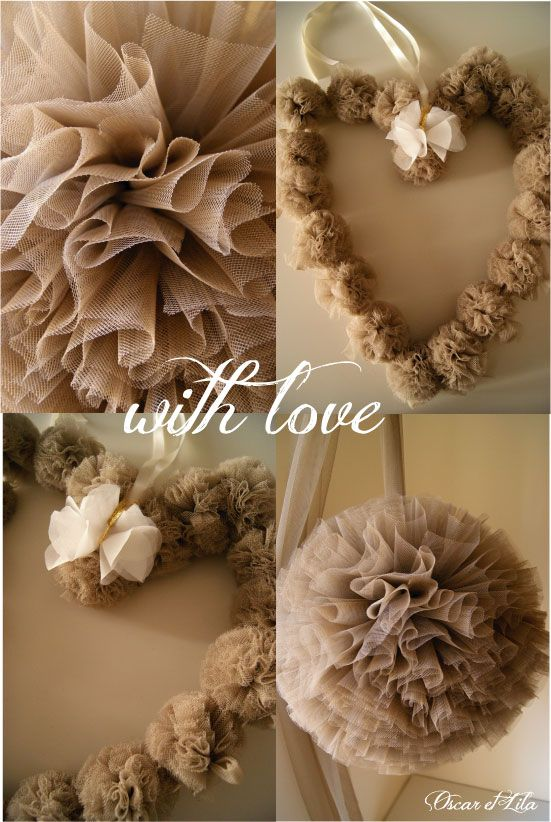 wreath and pom poms made from tulle