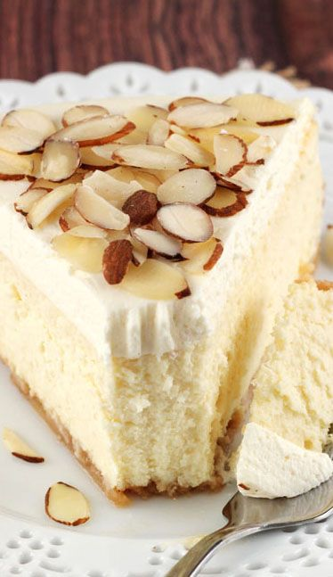 This Amaretto Cheesecake is the bee's knees. It is thick, creamy and full of Amaretto flavor.