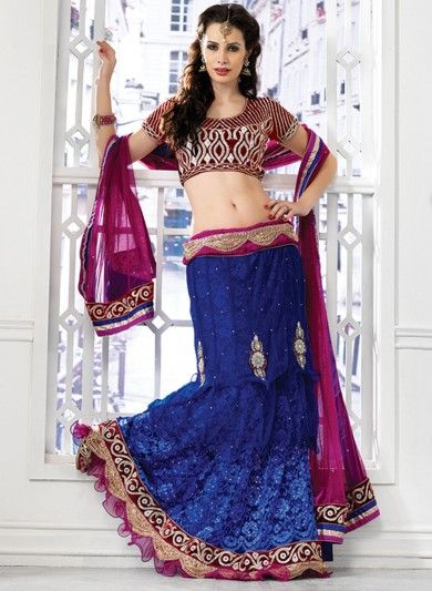 Blue Net and Jacquard Net Lehenga Choli