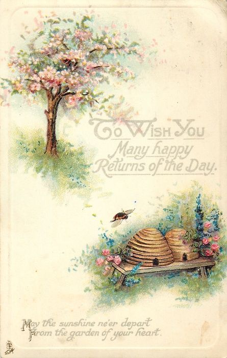 To wish you many happy returns of the day. #vintage #birthday #cards